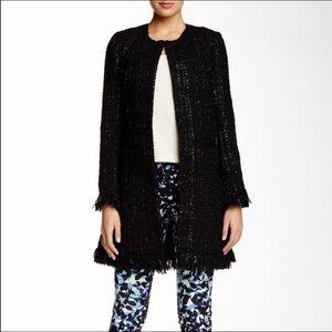 Vertigo Black Tweed Coat with Fringe